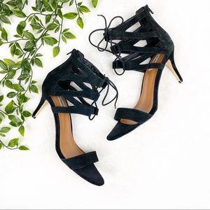 Steve Madden | Black Lace Up Open Toe Suede Heels